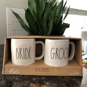 Rae Dunn BRIDE GROOM Mug Set